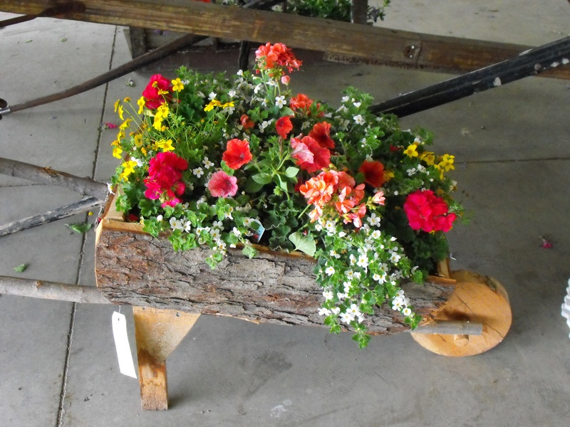 Home made wooden wheelbarrow